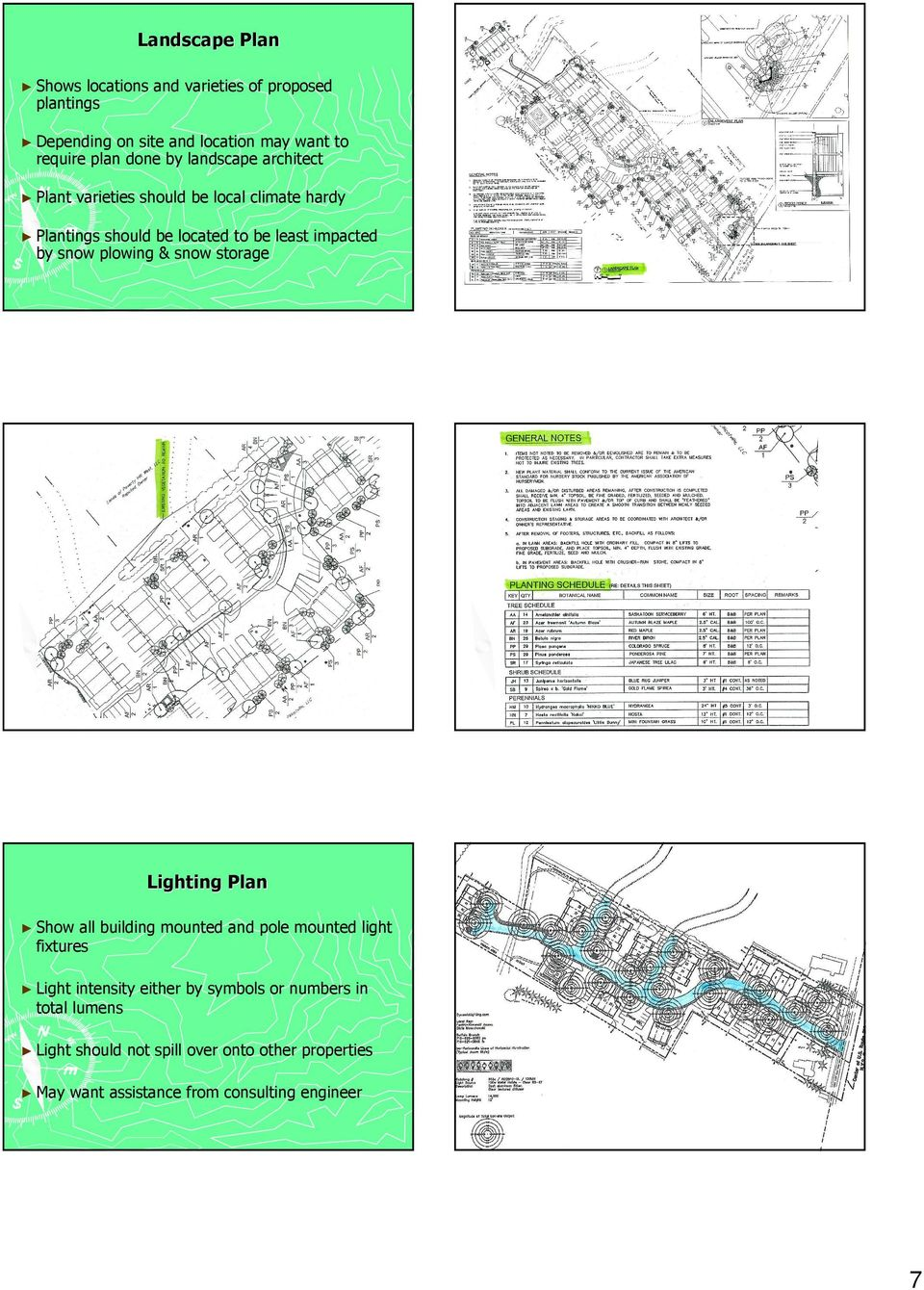 snow plowing & snow storage Lighting Plan Show all building mounted and pole mounted light fixtures Light intensity either by
