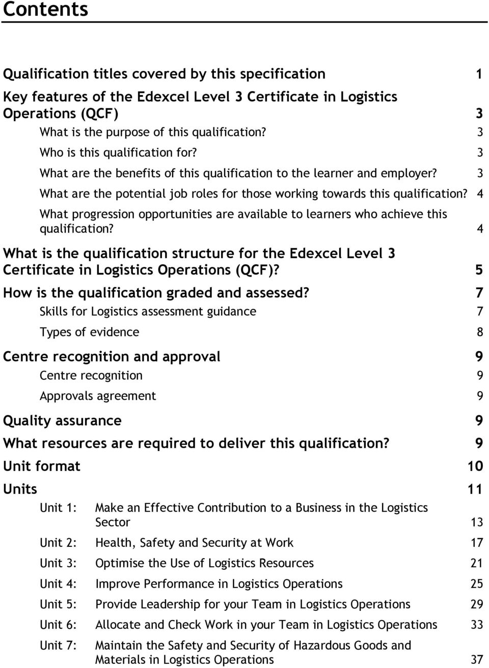 4 What progression opportunities are available to learners who achieve this qualification? 4 What is the qualification structure for the Edexcel Level 3 Certificate in Logistics Operations (QCF)?