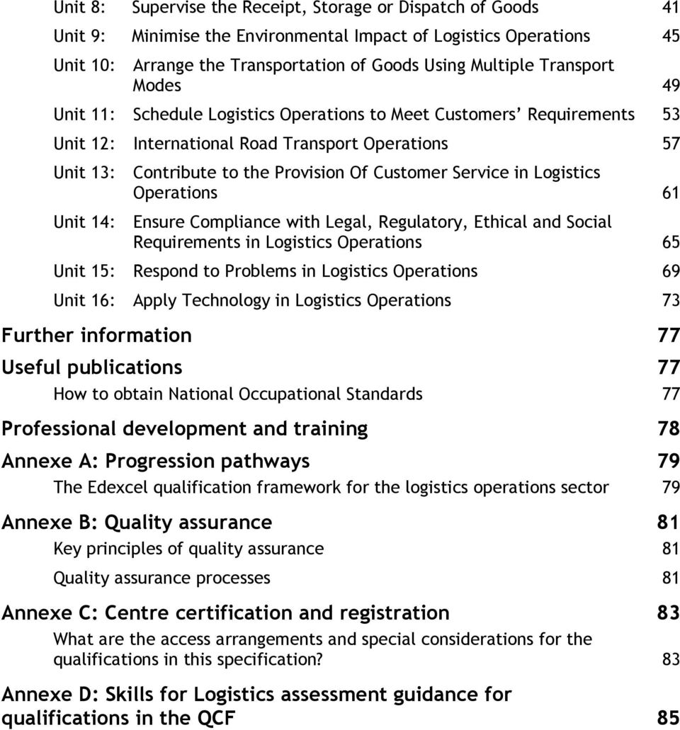 Service in Logistics Operations 61 Unit 14: Ensure Compliance with Legal, Regulatory, Ethical and Social Requirements in Logistics Operations 65 Unit 15: Respond to Problems in Logistics Operations