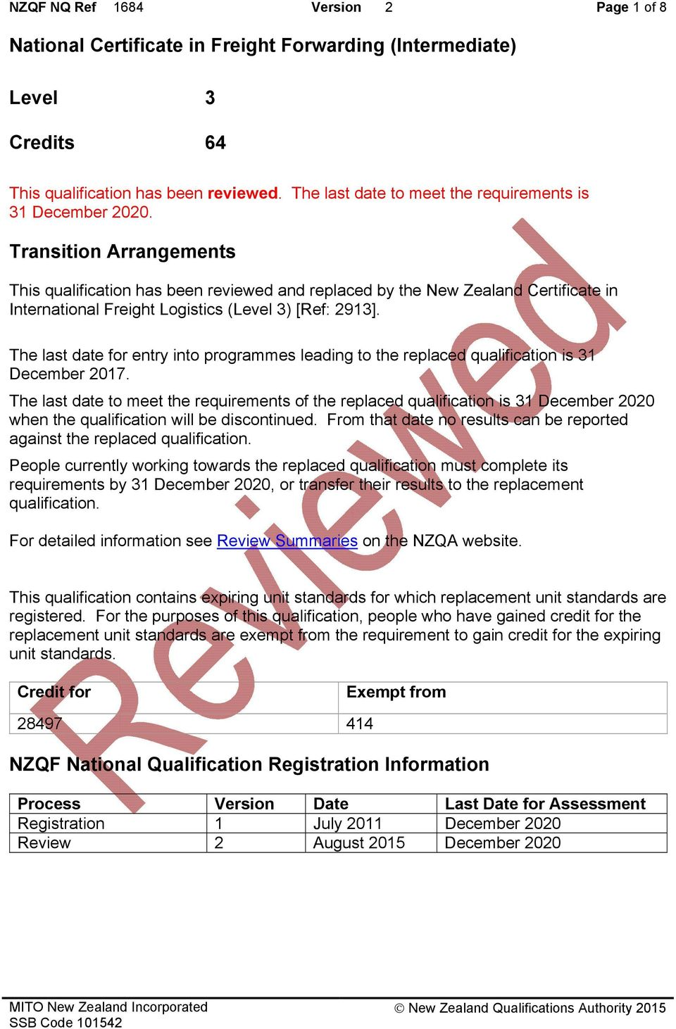 Transition Arrangements This qualification has been reviewed and replaced by the New Zealand Certificate in International Freight Logistics (Level 3) [Ref: 2913].