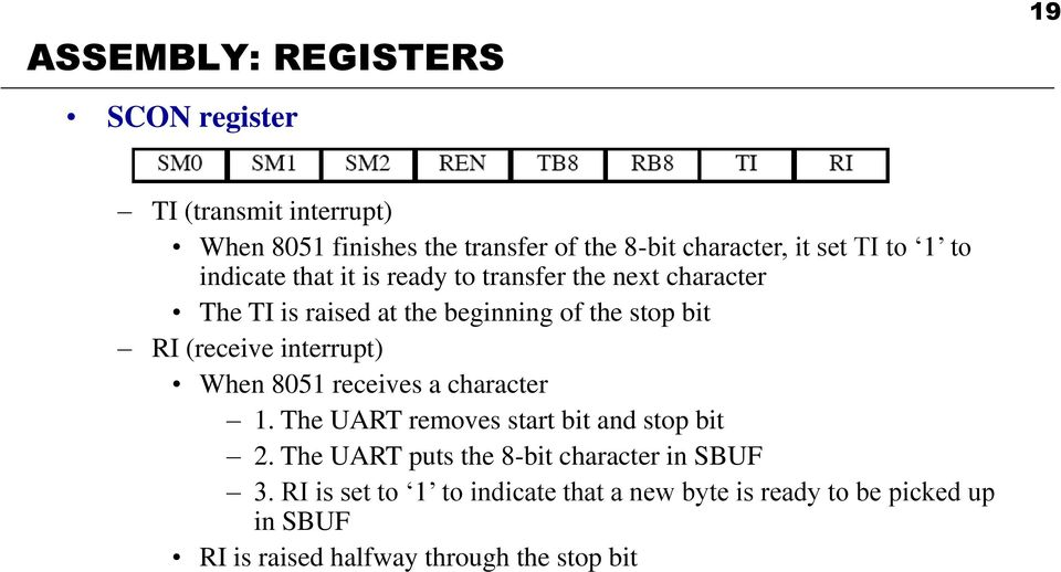 (receive interrupt) When 8051 receives a character 1. The UART removes start bit and stop bit 2.