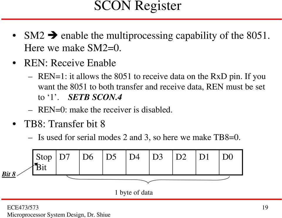 If you want the 851 to both transfer and receive data, REN must be set to 1. SETB SCON.