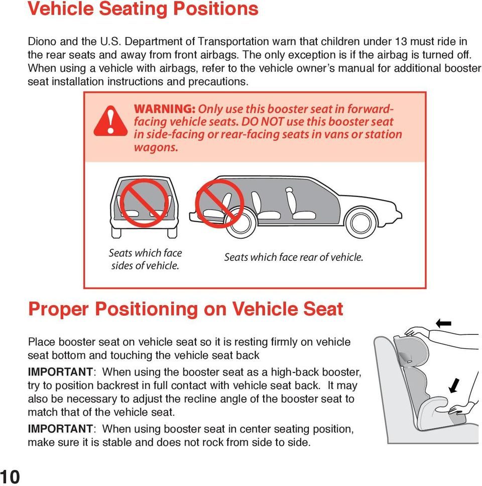 WARNING: Only use this booster seat in forwardfacing vehicle seats. DO NOT use this booster seat in side-facing or rear-facing seats in vans or station wagons. Seats which face sides of vehicle.