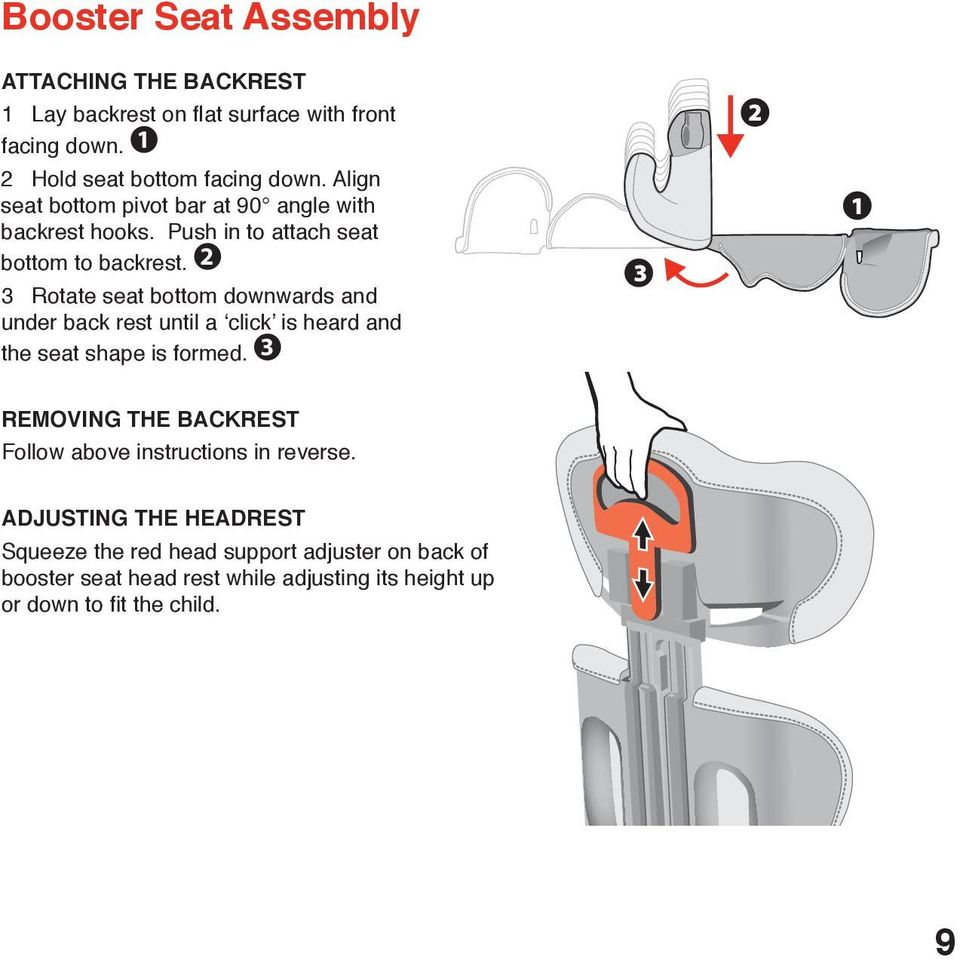 2 3 Rotate seat bottom downwards and under back rest until a click is heard and the seat shape is formed.