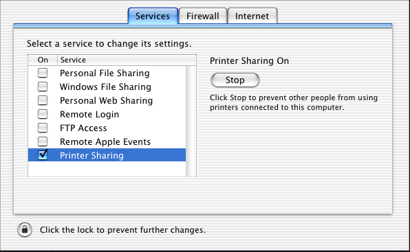 4. Click the checkbox next to Printer Sharing, then close System Preferences. Note: To share your printer with Windows, click the Windows File Sharing checkbox.