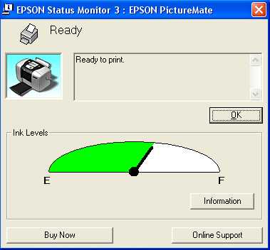 PictureMate Status Monitor for Windows You can check the amount of ink remaining in the photo cartridge using EPSON Status Monitor 3 or the progress meter.