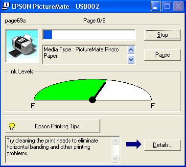 The progress meter dialog box appears automatically when you send a print job to the printer. You can check the remaining amount of ink from this dialog box.