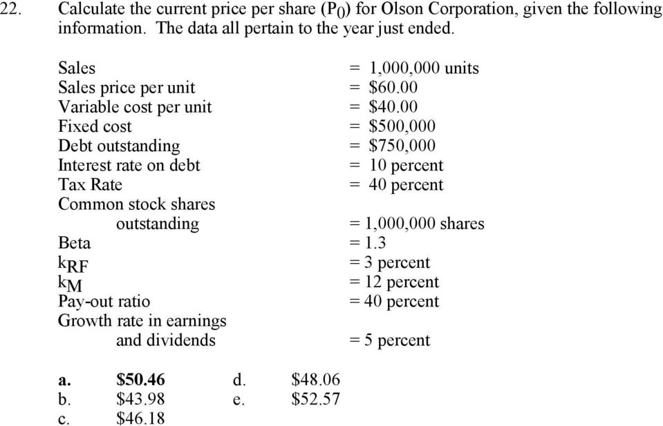 00 Fixed cost = $500,000 Debt outstanding = $750,000 Interest rate on debt = 10 percent Tax Rate = 40 percent Common stock shares outstanding