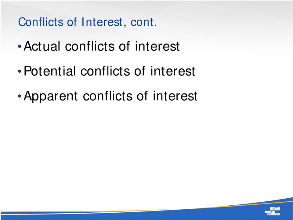 Potential conflicts of