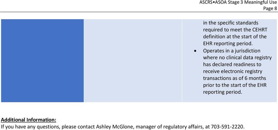 electronic registry transactions as of 6 months prior to the start of the EHR reporting Additional
