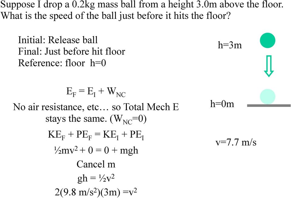 Initial: Release ball Final: Just before hit floor Reference: floor h=0 h=3m E F = E I + W NC No