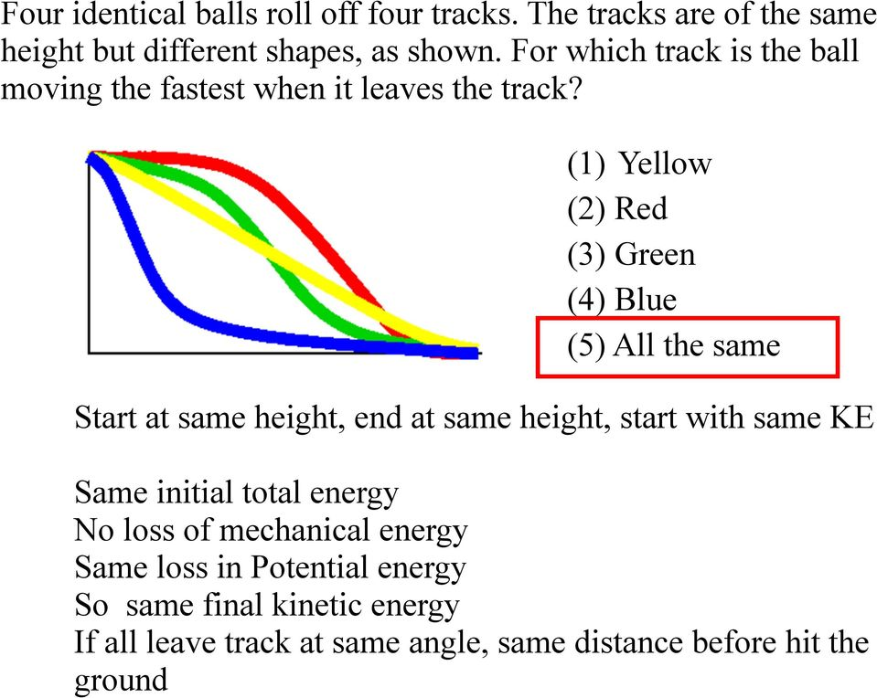 (1) Yellow (2) Red (3) Green (4) Blue (5) All the same Start at same height, end at same height, start with same KE Same