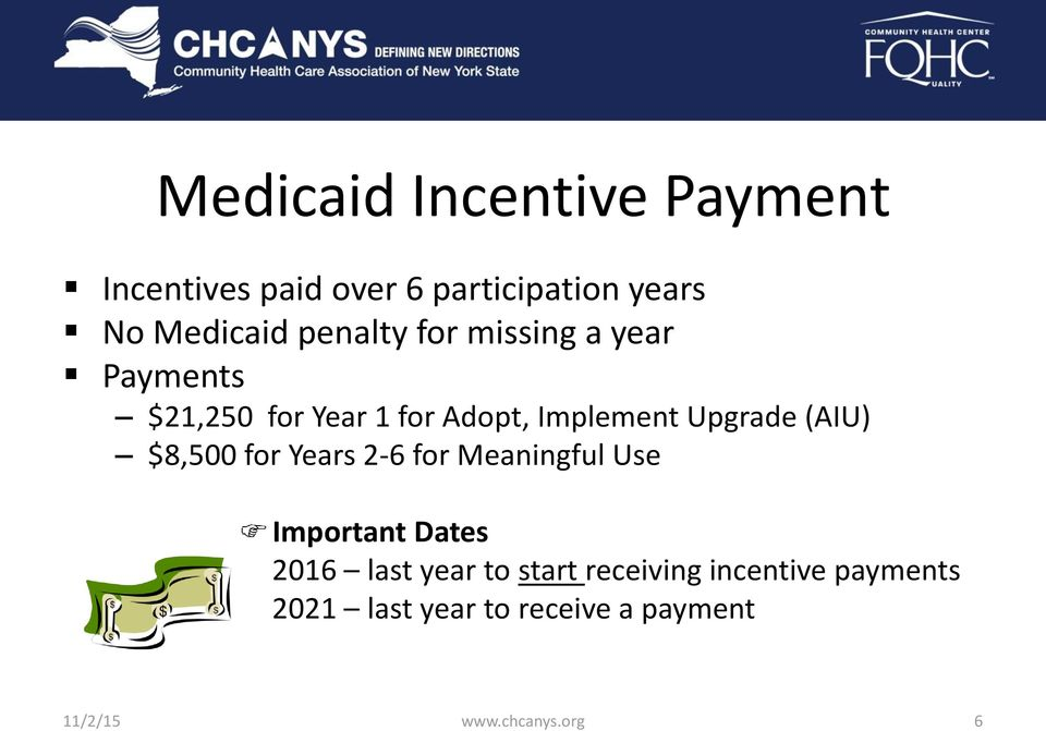 (AIU) $8,500 for Years 2-6 for Meaningful Use Important Dates 2016 last year to start