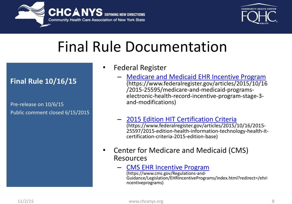 gov/articles/2015/10/16 /2015-25595/medicare-and-medicaid-programs- electronic-health-record-incentive-program-stage-3- and-modifications) 2015 Edition HIT Certification Criteria