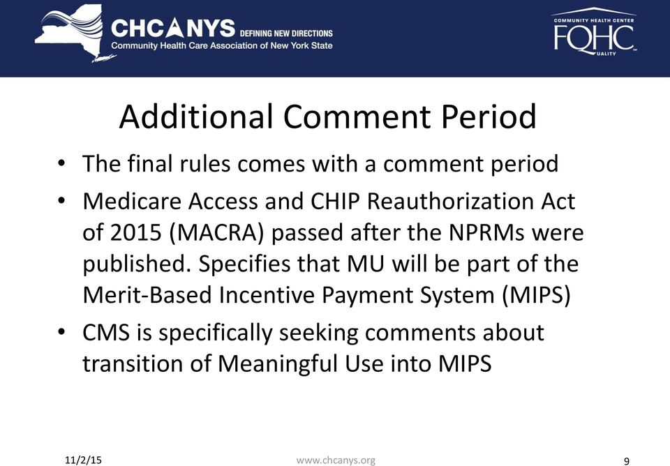 Specifies that MU will be part of the Merit-Based Incentive Payment System (MIPS) CMS is