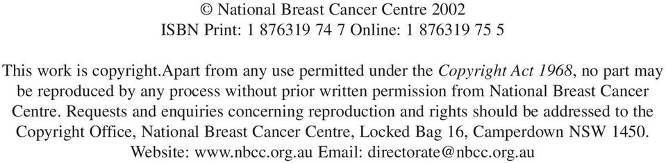 permission from National Breast Cancer Centre.