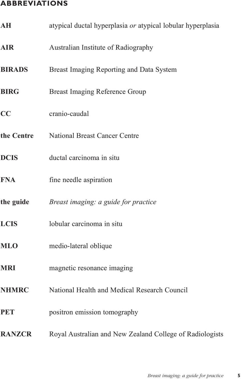 the guide Breast imaging: a guide for practice LCIS lobular carcinoma in situ MLO medio-lateral oblique MRI magnetic resonance imaging NHMRC National Health