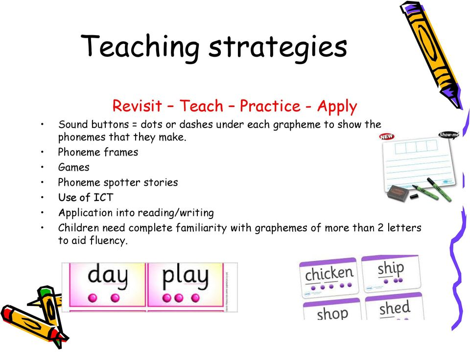 Phoneme frames Games Phoneme spotter stories Use of ICT Application into