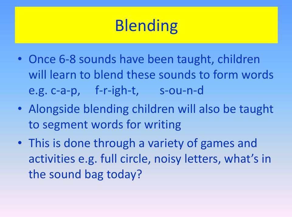 c-a-p, f-r-igh-t, s-ou-n-d Alongside blending children will also be taught to