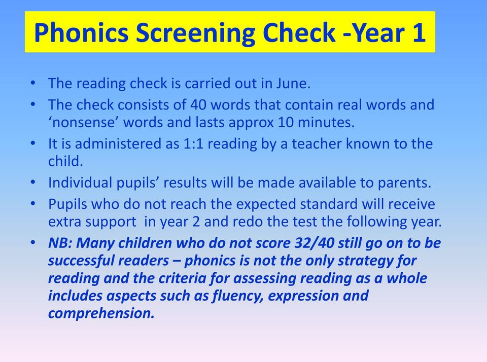 It is administered as 1:1 reading by a teacher known to the child. Individual pupils results will be made available to parents.
