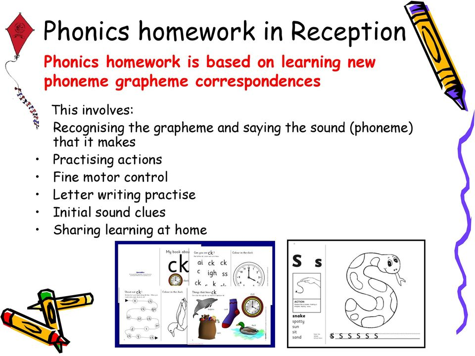 and saying the sound (phoneme) that it makes Practising actions Fine
