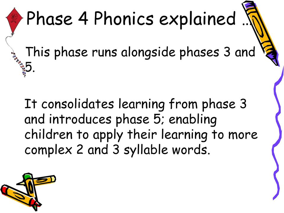 It consolidates learning from phase 3 and introduces