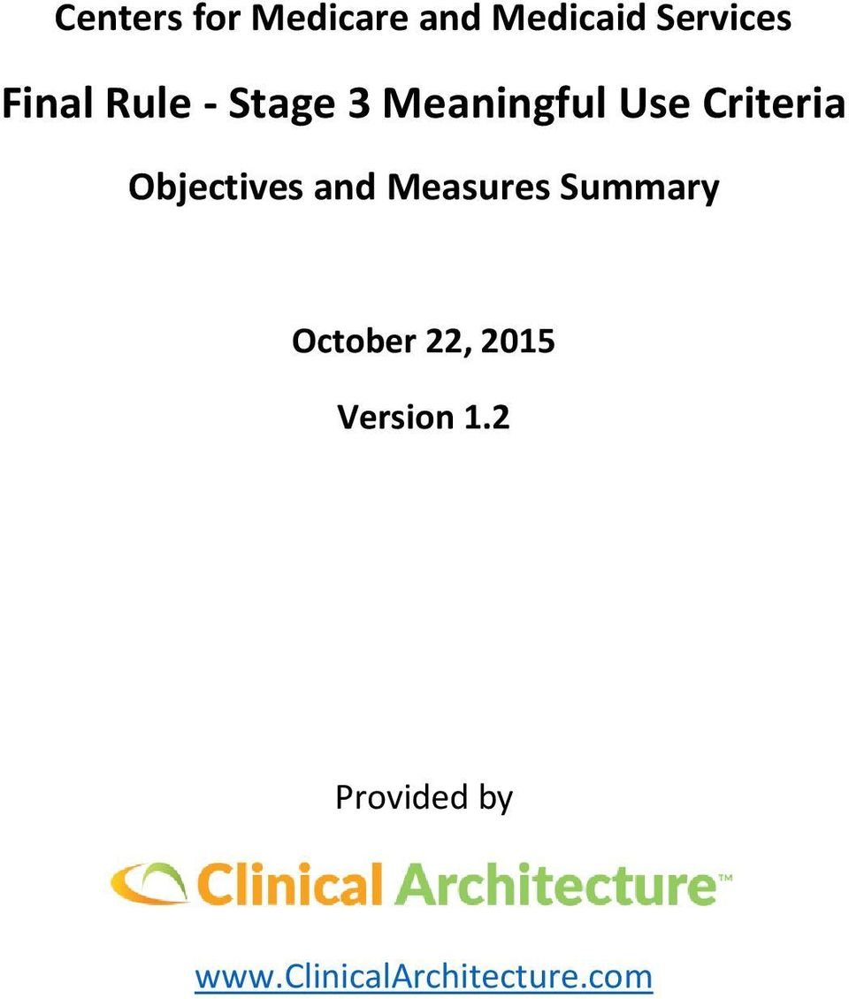 Objectives and Measures Summary October 22,