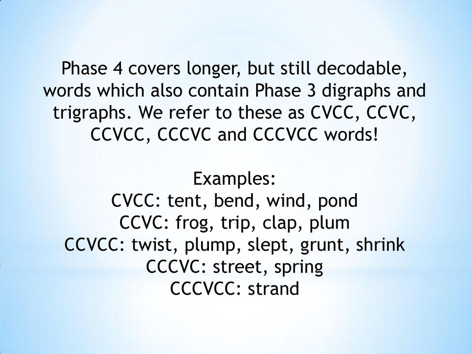 We refer to these as CVCC, CCVC, CCVCC, CCCVC and CCCVCC words!