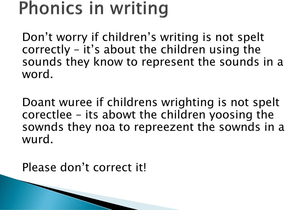 Doant wuree if childrens wrighting is not spelt corectlee its abowt the