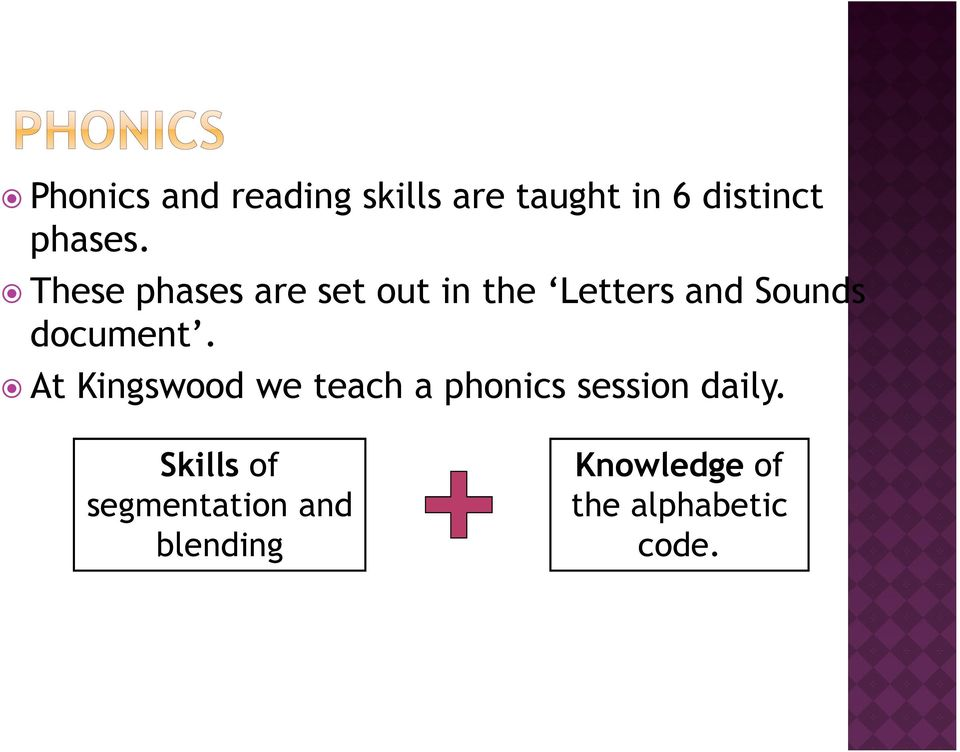 At Kingswood we teach a phonics session daily.