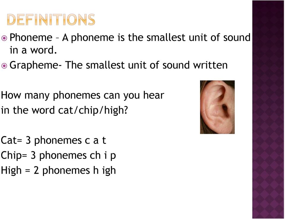 phonemes can you hear in the word cat/chip/high?