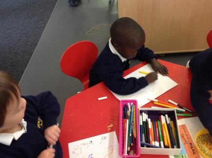 Model writing poems and short stories, writing down ideas suggested by the children. Provide activities during which children will experiment with writing, for example, leaving a message.