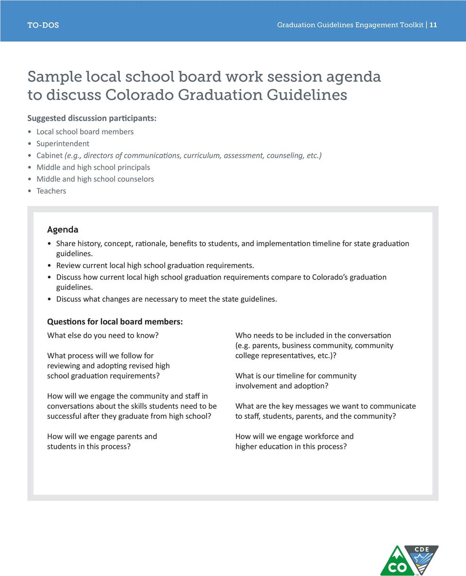 ) Middle and high school principals Middle and high school counselors Teachers Agenda Share history, concept, rationale, benefits to students, and implementation timeline for state graduation