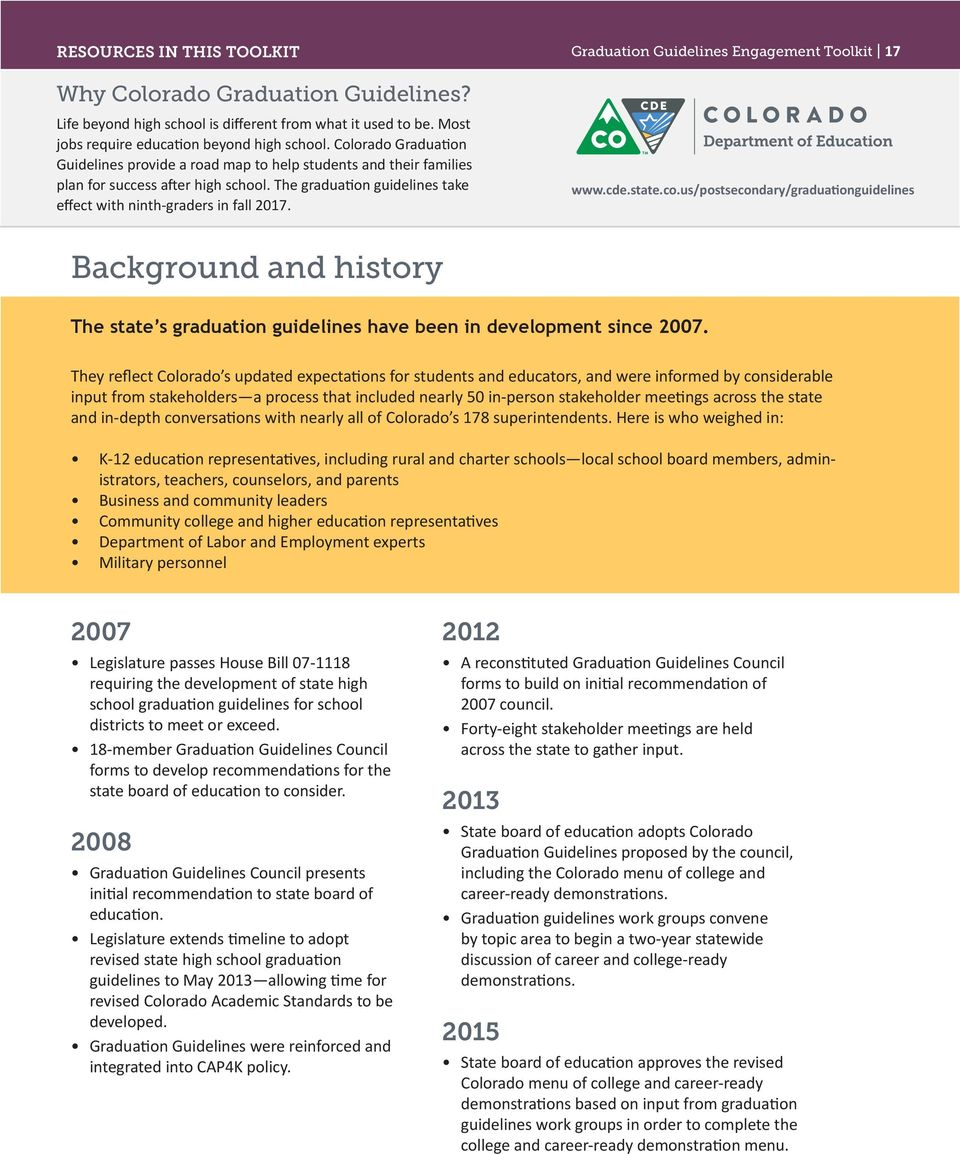 Graduation Guidelines Engagement Toolkit 17 www.cde.state.co.us/postsecondary/graduationguidelines Background and history The state s graduation guidelines have been in development since 2007.