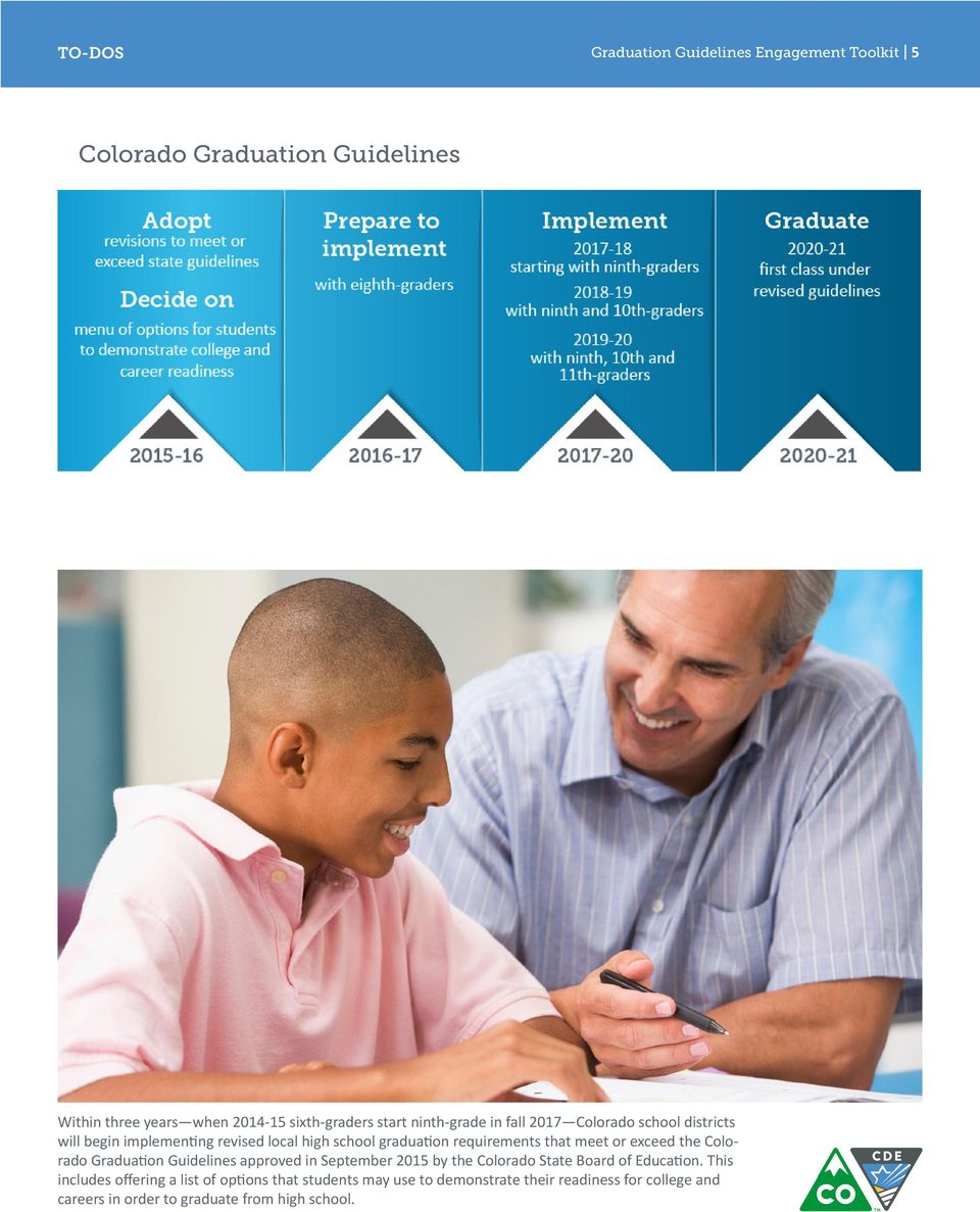 or exceed the Colorado Graduation Guidelines approved in September 2015 by the Colorado State Board of Education.
