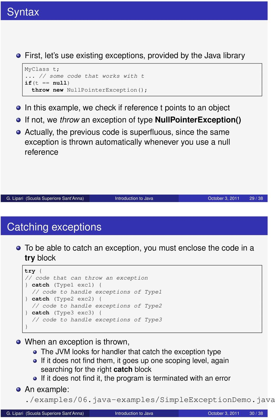 NullPointerException() Actually, the previous code is superfluous, since the same exception is thrown automatically whenever you use a null reference G.