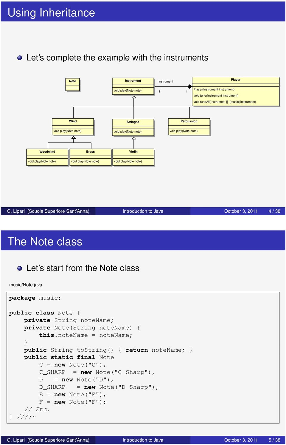 play(note note) G. Lipari (Scuola Superiore Sant Anna) Introduction to Java October 3, 2011 4 / 38 The Note class Let s start from the Note class music/note.