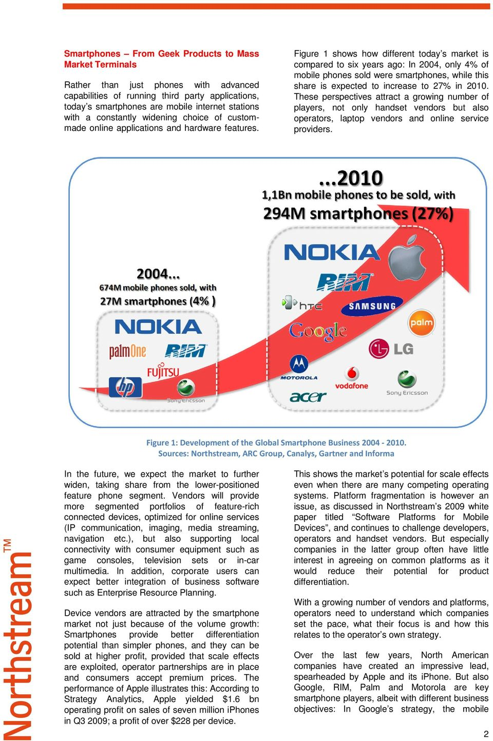 Figure 1 shows how different today s market is compared to six years ago: In 2004, only 4% of mobile phones sold were smartphones, while this share is expected to increase to 27% in 2010.