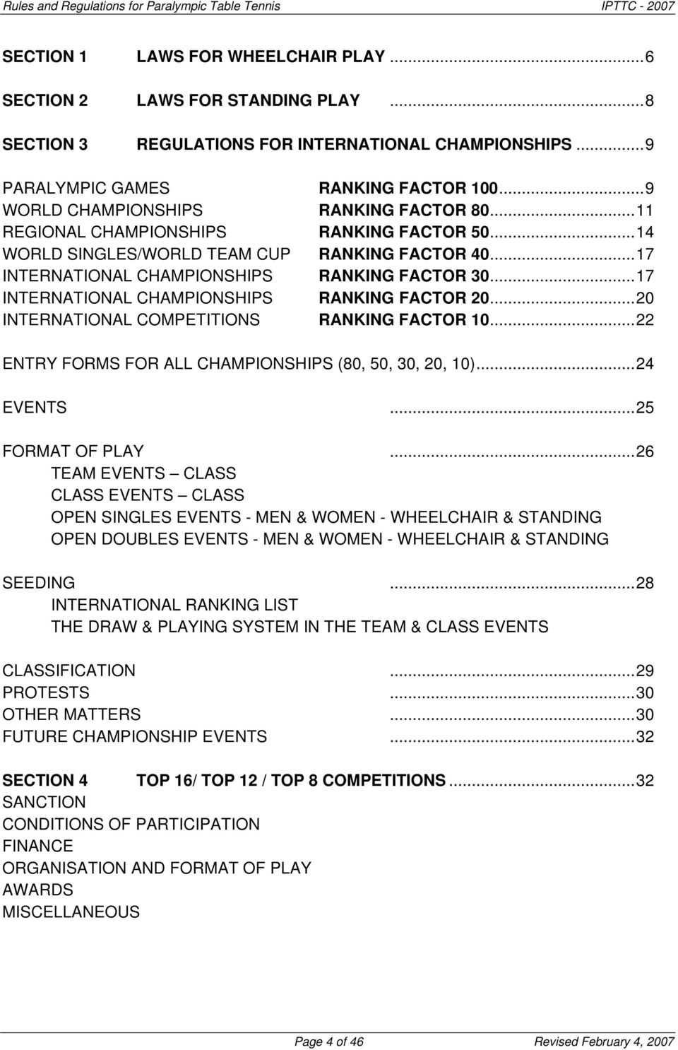 ..17 INTERNATIONAL CHAMPIONSHIPS RANKING FACTOR 20...20 INTERNATIONAL COMPETITIONS RANKING FACTOR 10...22 ENTRY FORMS FOR ALL CHAMPIONSHIPS (80, 50, 30, 20, 10)...24 EVENTS...25 FORMAT OF PLAY.