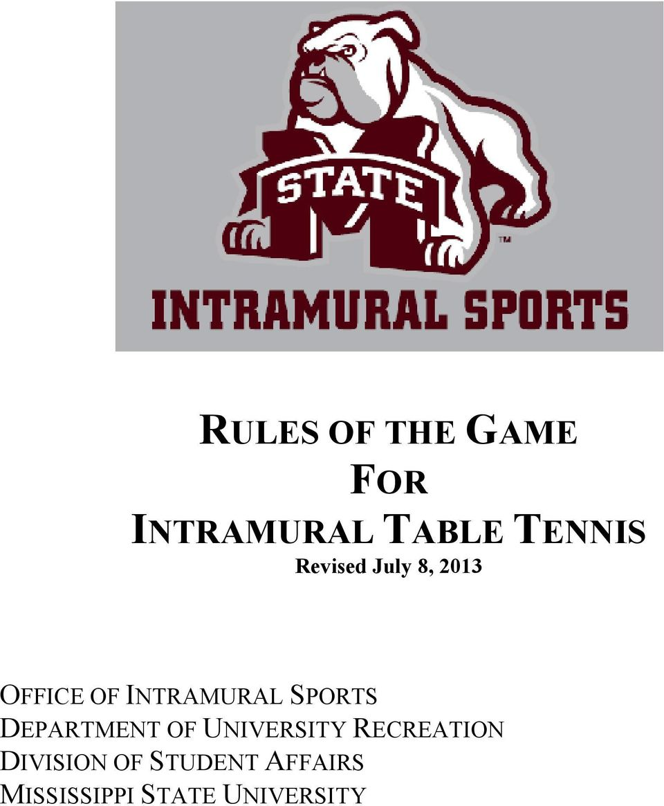 recreation intramural sports rules table tennis