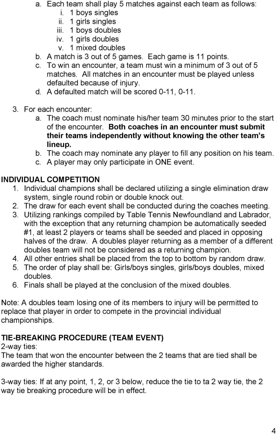 3. For each encounter: a. The coach must nominate his/her team 30 minutes prior to the start of the encounter.