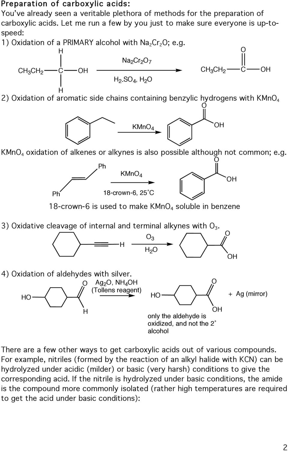 Na 2 r 2 7 3 2 3 2 2-4, 2 2) xidation of aromatic side chains containing