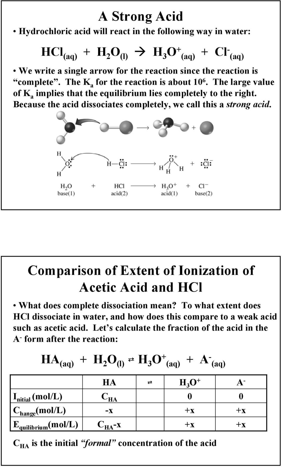 Comparison of Extent of Ionization of Acetic Acid and HCl What does complete dissociation mean?