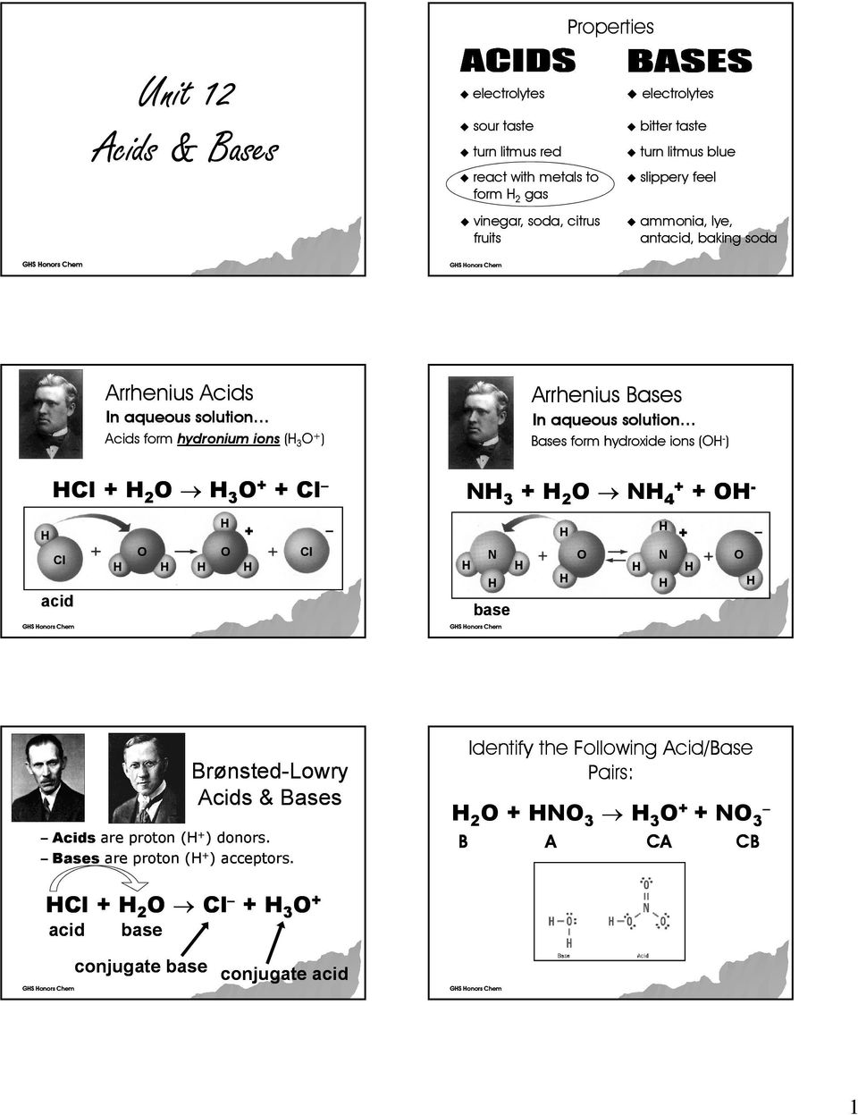 3 + Cl Arrhenius Bases In aqueous solution Bases form hydroxide ions ( ) N 3 + 2 N 4+ + N base 3 2 4 N + BrønstedLowry Acids & Bases Acids are proton ( + )