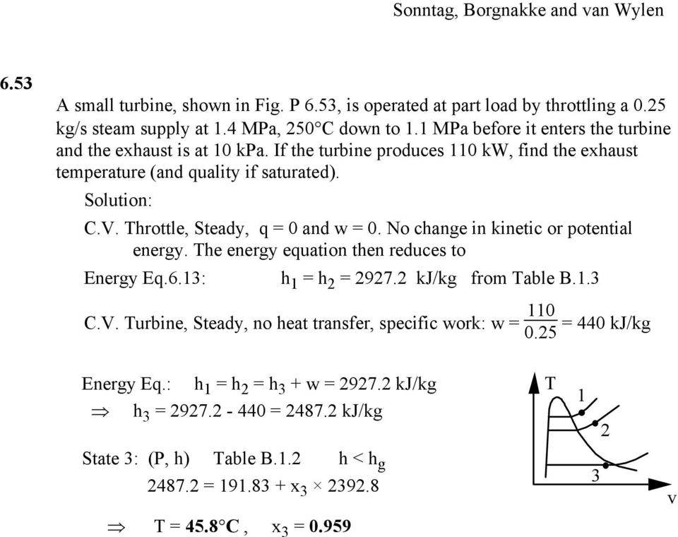Throttle, Steady, q = 0 and w = 0. No change in kinetic or potential energy. The energy equation then reduces to Energy Eq.6.3: h = h = 97. kj/kg from Table B..3 C.V.