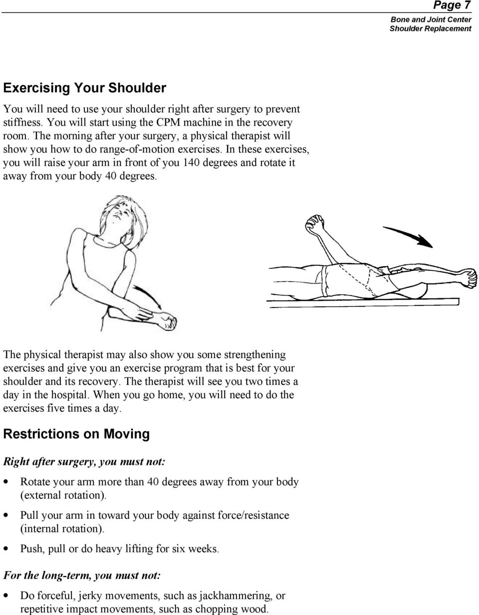 In these exercises, you will raise your arm in front of you 140 degrees and rotate it away from your body 40 degrees.