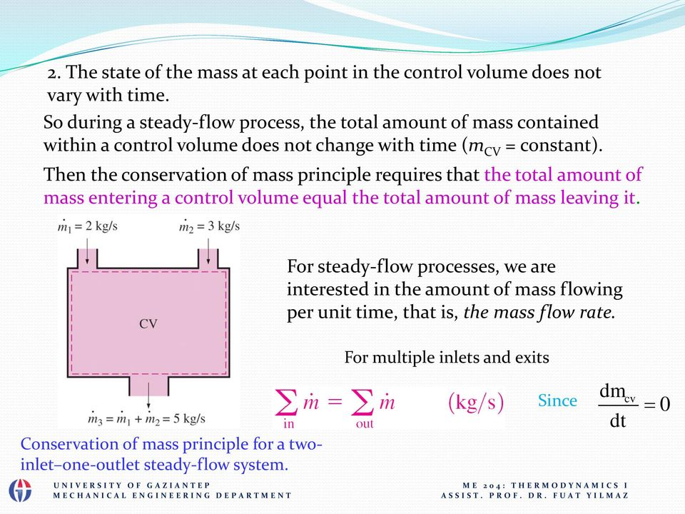 Then the conservation of mass principle requires that the total amount of mass entering a control volume equal the total amount of mass leaving it.