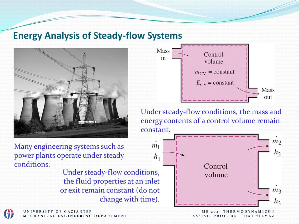 Under steady-flow conditions, the fluid properties at an inlet or exit remain