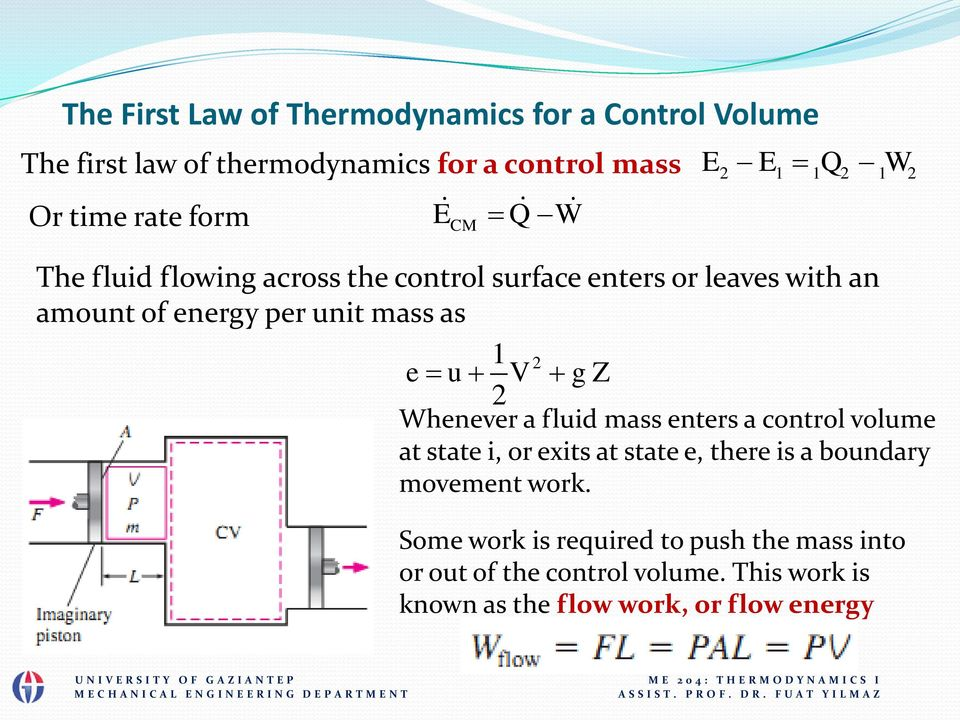 e u V g Z Whenever a fluid mass enters a control volume at state i, or exits at state e, there is a boundary movement work.