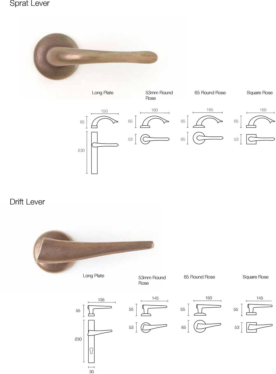 Drift Lever Long Plate 53mm Round Rose 65 Round Rose